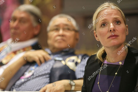 Catherine McKenna, Canada's environment minister, chairs a panel featuring Canadian Indigenous leaders discussing climate change, at the COP22 climate change conference n Marrakech, Morocco