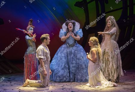 Stock Image of Elly Condron as Iris, Daniel Easton as Ferdinand, Jennifer Witton as Goddess, Jenny Rainsford as Miranda, Samantha Hay as Goddess