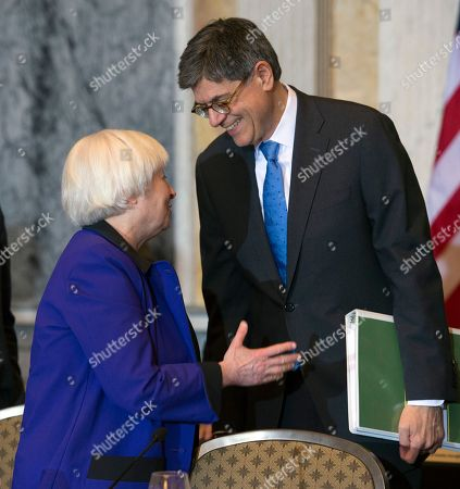 Jack Lew, Janet Yellen Secretary of the Treasury and Council Chairperson Jack Lew speaks with Federal Reserve Chair Janet Yellen after the Financial Stability Oversight Council at the Treasury Department in Washington