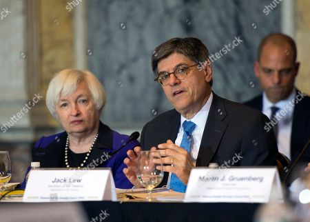 Jack Lew, Janet Yellen Secretary of the Treasury and Council Chairperson Jack Lew speaks during the Financial Stability Oversight Council along with Federal Reserve Chair Janet Yellen, at the Treasury Department in Washington