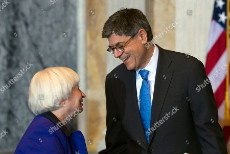 Jack Lew, Janet Yellen Secretary of the Treasury and Council Chairperson Jack Lew talks with Federal Reserve Chair Janet Yellen after the Financial Stability Oversight Council at the Treasury Department in Washington