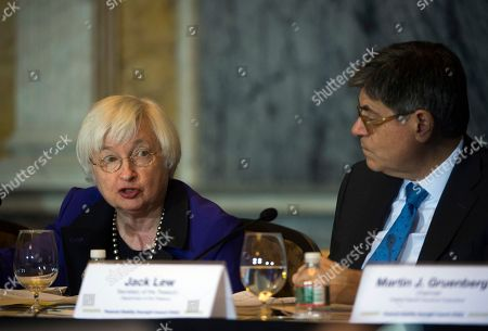 Jack Lew, Janet Yellen Federal Reserve Chair Janet Yellen speaks next to Secretary of the Treasury and Council Chairperson Jack Lew during the Financial Stability Oversight Council at the Treasury Department in Washington