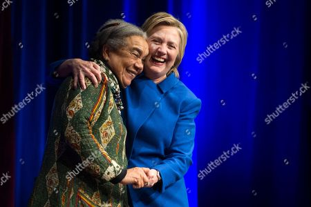 Hillary Clinton Hillary Clinton hugs Marian Wright Edelman, president and founder of the, Children's Defense Fund, before addressing the group's Beat the Odds celebration at the Newseum in Washington