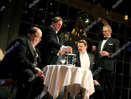Stock Picture of 'Never So Good'  - Ian McNeice (Churchill), Robert Glenister (Bob Boothby), Anthony Calf (Eden) and Jeremy Irons (Harold Macmillan)