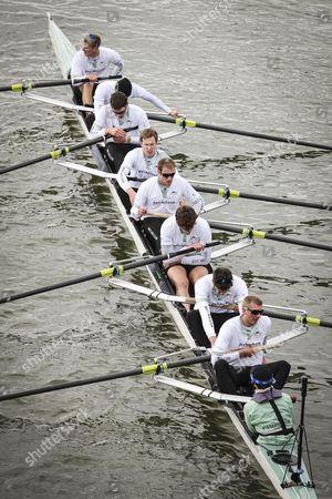 Rowing - 159th Boat Race - Oxford University vs Cambridge University Dejected and Exhausted Cambridge cross the line CAMBRIDGE Bow: Grant Wilson 2: Milan Bruncvik 3: Alex Fleming 4: Ty Otto 5: George Nash 6: Steve Dudek 7: Alexander Scharp Stroke: Niles Garratt Cox: Henry Fieldman