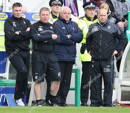 Football - Scottish Premier League - Hibs vs Rangers Rangers win 2009 - 2010 SPL Rangers management Ally McCoist Walter Smith and Kenny McDowell