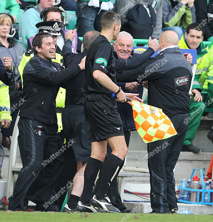 Football - Scottish Premier League - Hibs vs Rangers Rangers win 2009 - 2010 SPL Rangers assistant managers Kenny McDowell and manager Walter Smith celebrate at the final whistle