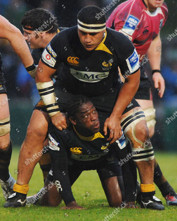 Rugby - David Lemi stands over Serge Betsen (wasps) London Wasps v Cardiff blues Amlin Challenge Cup semi final 1/05/2010