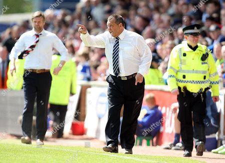 Stock Image of Kilmarnock vs Falkirk Rugby Park Kilmarnock Kilmarnock manager Jimmy Calderwood 8th May 2010
