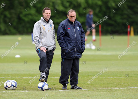 Football Portsmouth training session at their Eastleigh training ground Portsmouth's Avram Grant with coach Paul Groves 07/05/2010