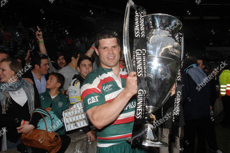 Stock Image of Rugby Union - Guinness Premiership Final 2010 Leicester Tigers v Saracens 29/05/2010 at Twickenham Try scorer Danny Hipkiss (Leicester) with the trophy
