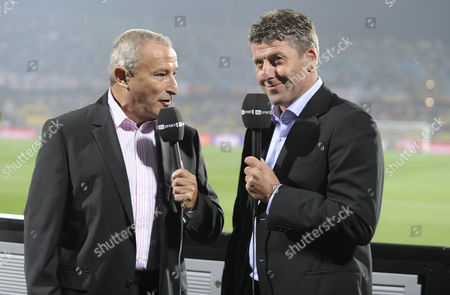 Football - World Cup Finals 2010 England v USA United States of America Jim Rosenthal (ITV Commentator) with Andy Townsend 12/06/2010 at Royal Bafokeng