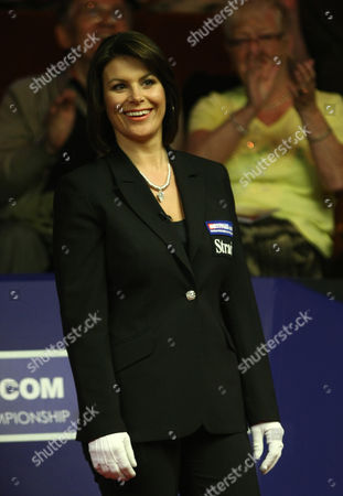 Stock Image of Snooker - The World Championship Referee Michaela Tabb at the Crucible Theatre Sheffield