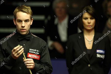 Snooker - The World Championship Michaela Tabb looks over the action as Allister Carter chalks his cue at the Crucible Theatre Sheffield