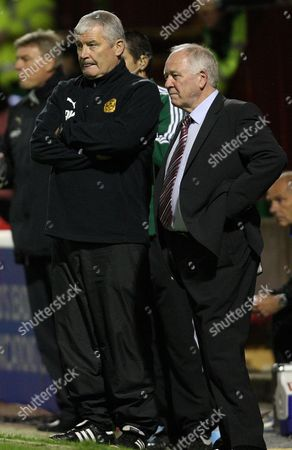 Football - Europa League - Motherwell vs Odense BK Motherwell assistant manager Archie Knox and manager Craig Brown during Motherwell vs Odense BK third round second leg Europa League match at Fir Park United Kingdom Glasgow