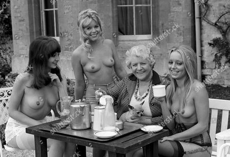 Suzy Mandell, Mary Millington, Irene Handl and Penny Chisholm on the set of 'Come Play with Me'