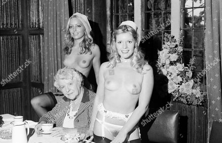 Penny Chisholm with Irene Handl and Mary Millington on the set of 'Come Play with Me'