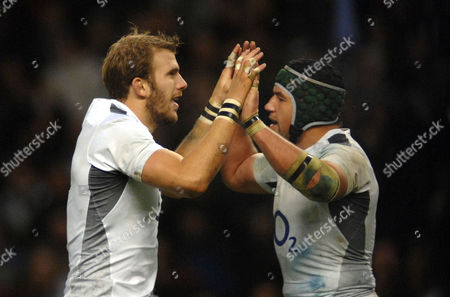 Rugby Union - International Friendly England v Samoa Tom Croft (Eng) celebrates his try with Hendre Fourie Investec Internationals 20/11/2010