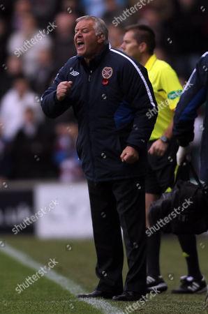 Football - Scottish Premier League - Hibernian vs Hearts Hearts coach Jim Jeffries during the Hibernian vs Hearts Clydesdale Bank Premier league match at Easter Road United Kingdom Glasgow