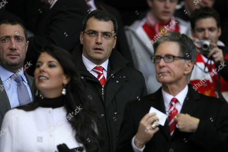 Football - Premier League - Liverpool vs Chelsea Liverpool's director of football strategy Damien Comolli pictured with owner John W Henry and partner at Anfield