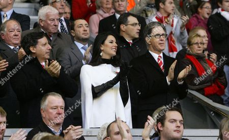 Football - Premier League - Liverpool vs Chelsea Liverpool's co-owner Tom Werner owner John Henry and partner and director of football strategy Damien Comolli at Anfield