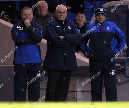 Stock Picture of Football - Scottish Premier League - Rangers vs Hibernian Rangers management team Aly McCoist walter Smith and Kenny McDowell during the Rangers vs Hibernian Clydesdale Bank Premier league match at Ibrox Stadium United Kingdom Glasgow