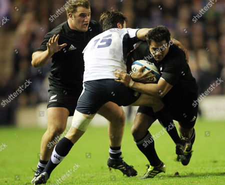 Rugby - Autumn Test - Scotland vs New Zealand Isaia Toeava of New Zealand is tackled by Hugo Southwell of Scotland during the Scotland vs New Zealand Autumn Test at Murrayfield United Kingdom Edinburgh