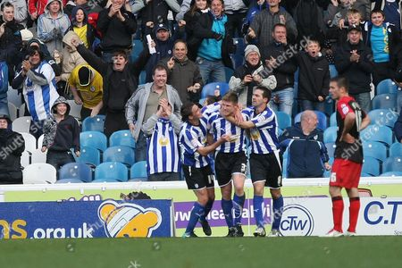 Football - League One - Sheffield Wednesday vs AFC Bournemouth Wednesday's Neil Mellor is congratulated by team mates after his goal at Hillsborough