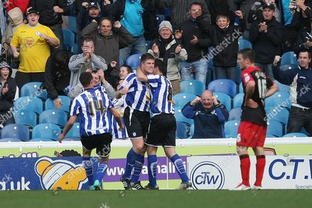 Football - League One - Sheffield Wednesday vs AFC Bournemouth Wednesday's Neil Mellor is congratulated by team mates at Hillsborough