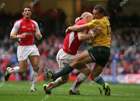 Rugby Union - International Friendly - Wales v Australia Australia's Quade Cooper challenges Tom Shanklin of Wales at the Millennium Stadium