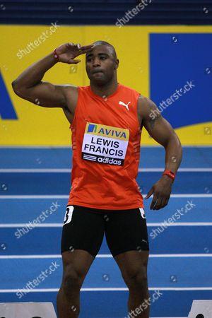 Athletics - AVIVA Grand Prix - Birmingham Mark Lewis Francis warms up in the 60m heat at the NIA in Birmingham