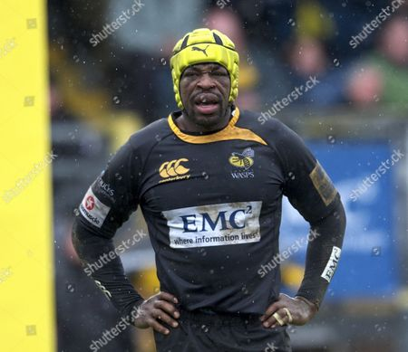 Rugby-Union-Aviva-Premiership-London Wasps-Saracens Serge Betsen of London Wasps during the Aviva Premiership Rugby London Wasps vs Saracens at Adams Park Stadium High Wycombe England 27 February 2011 England High Wycombe