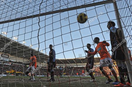Football - Premier League - Blackpool vs Aston Villa The ball crosses the line as Blackpool's Elliot Grandin (not pictured) scores to equalise (1-1) in the first half at Bloomfield Road Blackpool