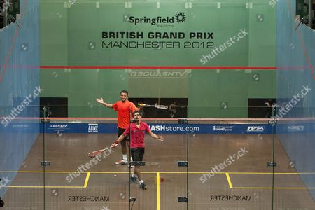 Squash - British Grand Prix - National Squash Centre Manchester Saurav Ghosal of India and Adrian Grant of England appeal a referee decision
