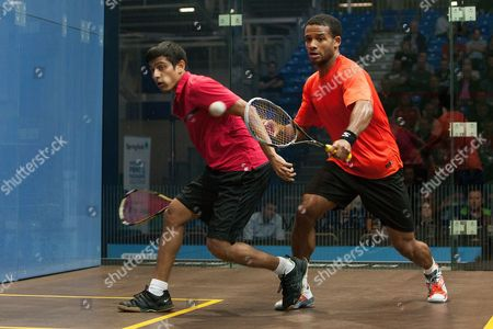 Squash - British Grand Prix - National Squash Centre Manchester Saurav Ghosal of India and Adrian Grant of England in action