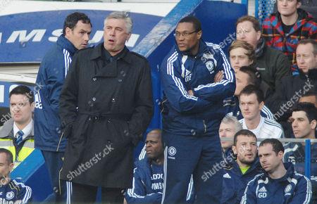 Football - Premier League - Chelsea vs Manchester City 20/03/2011 Carlo Ancelotti (Chelsea manager) with coach Michael Emenalo