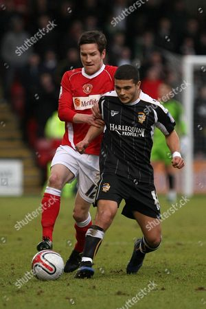 Football - League Two - Crewe vs Port Vale Crewe's Lee Bell and Port Vale's Justin Richards at the Alexandra Stadium