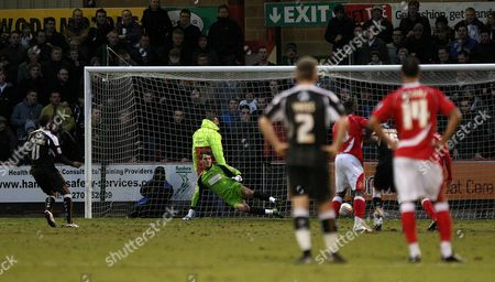 Football - League Two - Crewe vs Port Vale A penalty from Port Vale's Justin Richards sends Crewe's Rhys Taylor the wrong way to level the scores at the Alexandra Stadium
