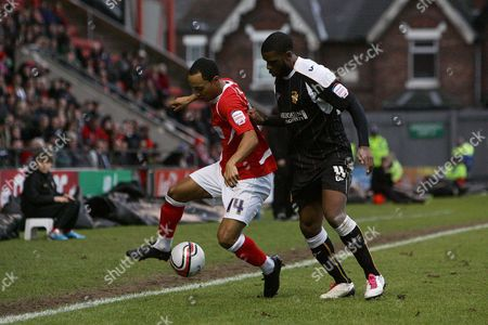 Football - League Two - Crewe vs Port Vale Crewe's Byron Moore and Port Vale's Justin Richards in action at the Alexandra Stadium