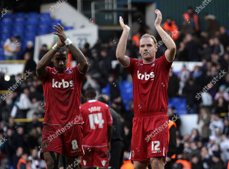 Football - FA Cup Third Round - Tottenham Hotspur vs Charlton Athletic Charlton players Therry Racon and Gary Doherty applaud their fans after the match at White Hart Lane