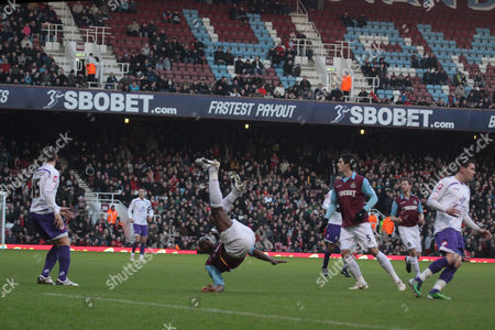 Football - FA Cup Third Round - West Ham United vs Barnsley Luis Boa Morte Of West Ham fall over at upton Park london