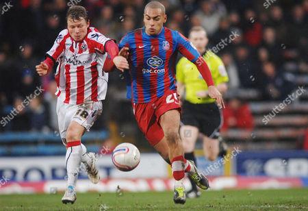 Football - Championship - Crystal Palace vs Sheffield United 19/02/2010 Jamers Vaughan (Crystal palace) Bjorn Helge Riise (United)