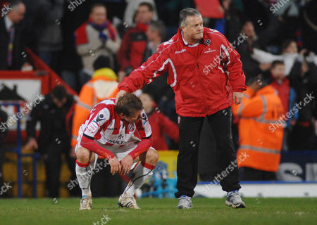 Football - Championship - Crystal Palace vs Sheffield United 19/02/2010 Sheffield United Manager Mickey Adams consoles Bjorn Helge Riise at the final whistle
