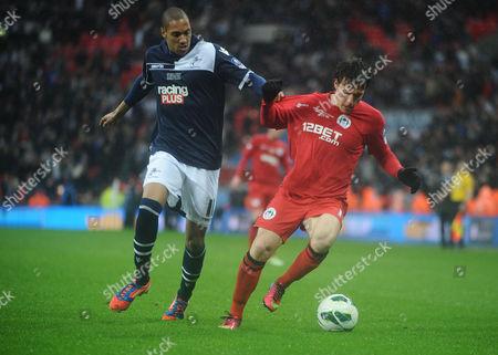 Football - 2012 / 2013 FA Cup - Semi-Final: Millwall vs Wigan Athletic Angelo Henriquez - Wigan Shaun Batt - Millwall at Wembley