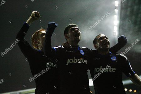 Football npower Championship Leeds United vs Portsmouth at Elland Road Portsmouth's Dave Kitson Nadir Ciftci and Hayden Mullins celebrate after Leeds' Andy O'Brien scoring own goal for Portsmouth's third goal 28/12/2010