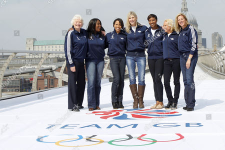 Olympics - Team GB Ambassadors announcement British Olympic Legends are unveiled as Team GB Ambassadors at the Tate Modern Gallery in Central London pictured: Sharron Davies Jane Torvill Sally Gunnell Dame Kelly Holmes Denise Lewis Dame Mary Peters Tessa Sanderson
