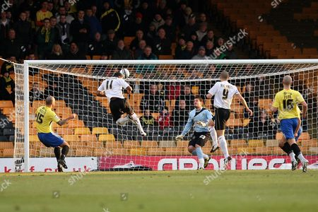 Football - League Two - Port Vale vs Burton Albion Port Vale's Justin Richards heads home his sides second goal at Vale Park