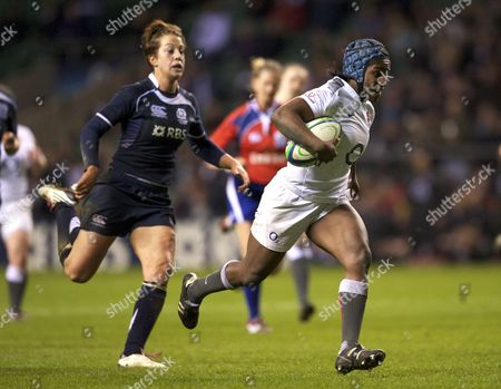 Rugby Union - Six Nations Championships - England Women vs Scotland Women Margaret Alphonsi of England runs in for a try at Twickenham Stadium London England on Sunday March 13 2011 England London