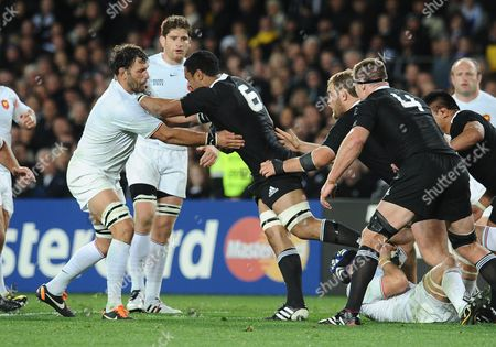 New Zealand v France ; Auckland ; Rugby World Cup Final Eden Park Stadium Jerome Kaino - NZ takes on Lionel Nallet - France