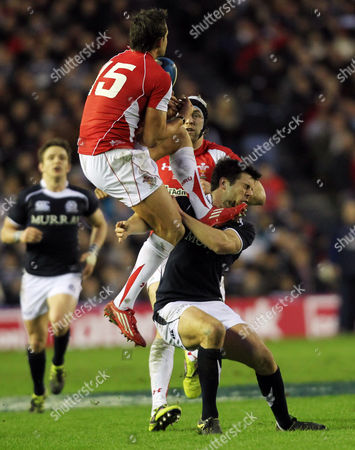 Rugby Union - 6 Nations - Scotland vs Wales Scotland's Hugo Southwell is kicked in the face by Wales' Lee Byrne during the Six Nations International rugby union match between Scotland and Wales at Murrayfield Stadium in Edinburgh United Kingdom Edinburgh